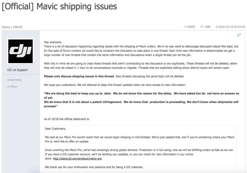 DJI Forum 留下官方帖子發布 Mavic Pro 延遲出貨的最新消息。
