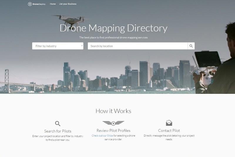 DroneDeploy 無人機測繪服務名冊網站的主頁。