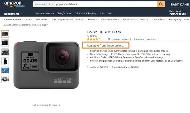 Amazon 網購平台上 GoPro 官方網店沒有顯示 HERO 5 Black 運動相機現貨數量,反而顯示「Available from these sellers」信息,代表著平台上其他網店仍有現貨,但有關網店的出售全屬二手貨或翻新貨。