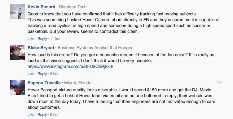 有 Facebook 用戶留言稱,寧願加些許錢買 DJI Mavic Pro,也不要 Hover Camera Passport。