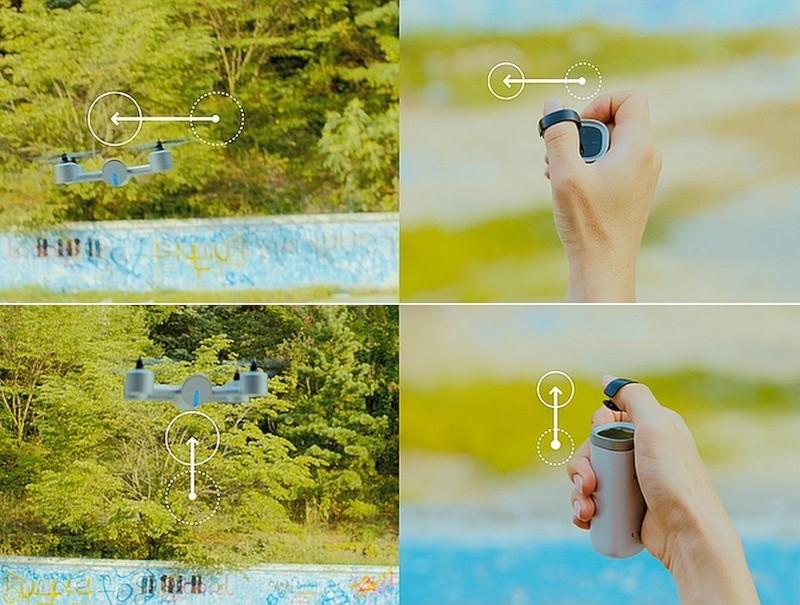 Shift 遙控器的操作方式非常直觀:戴上指環的姆指向左一揮,飛行器即會向左飄移;姆指向上一拉,飛行器便會往上爬升。