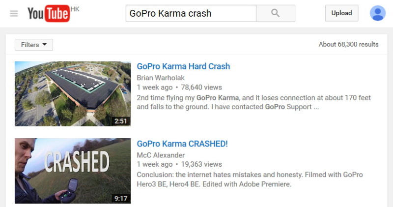 YouTube 搜尋結果:GoPro Karma crash