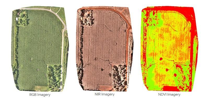 Sentera Omni 無人機能夠同時記錄高解析度 RGB 彩色影像、 NIR 近紅外線影像、以及 NDVI 歸一化植被指數影像,適用於精準農業和地形測量。