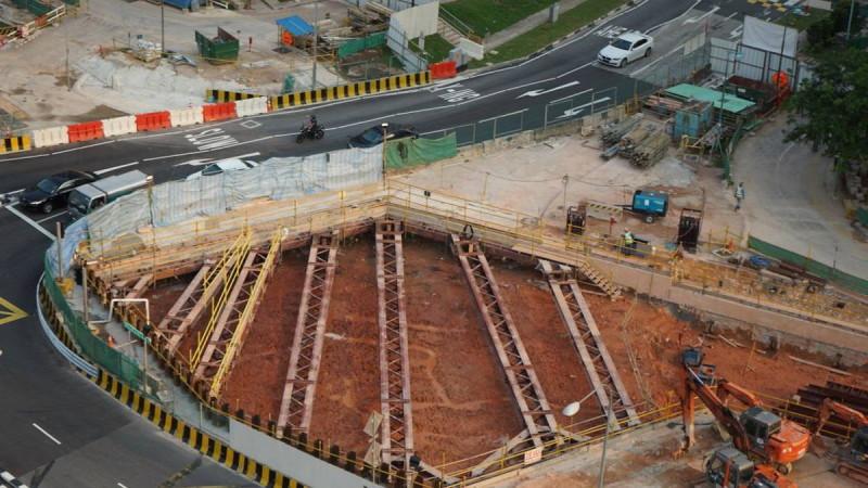 新加圾陸路交通管理局用無人機勘察鐵路施工情況(照片來源:交通部)