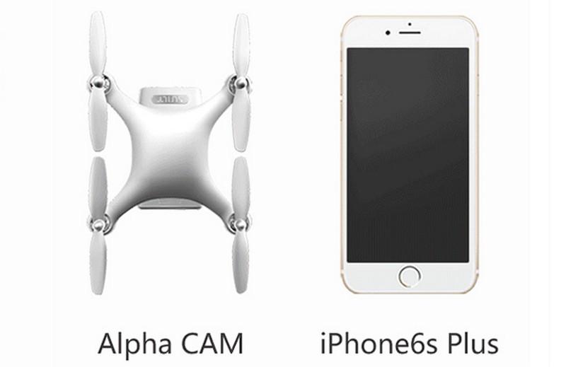 Alpha CAM 自拍無人機的體積為 128×128×43 毫米,大約跟 iPhone 6s Plus 相若。