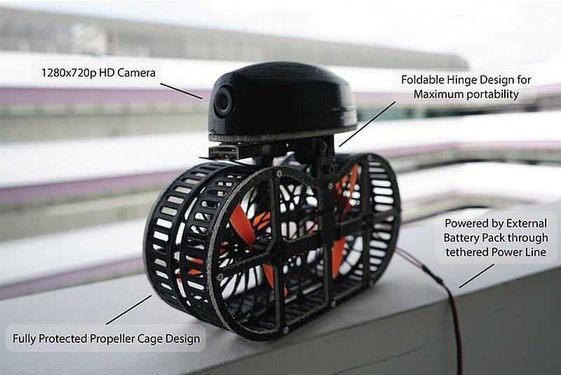 TONBO 無人機雖然可加裝720p航拍鏡頭,但礙於拖著纜線關係,飛行距離實在太短,只適合進行自拍。