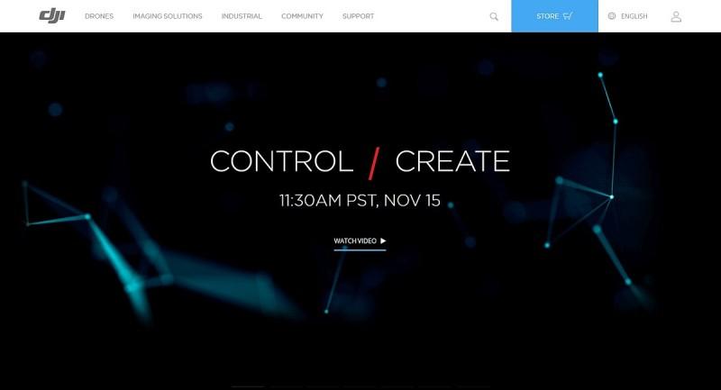 大疆官網主頁已換上題為「CONTROL / CREATE」的主題圖片。