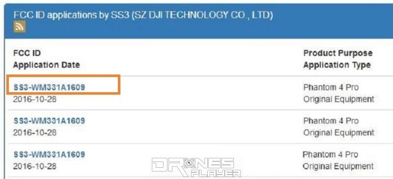 由 DJI 提交給 FCC 的資料可見,相關產品的 FCC ID 為「SS3-WM331A1609」,名稱則是「Phantom 4 Pro」。