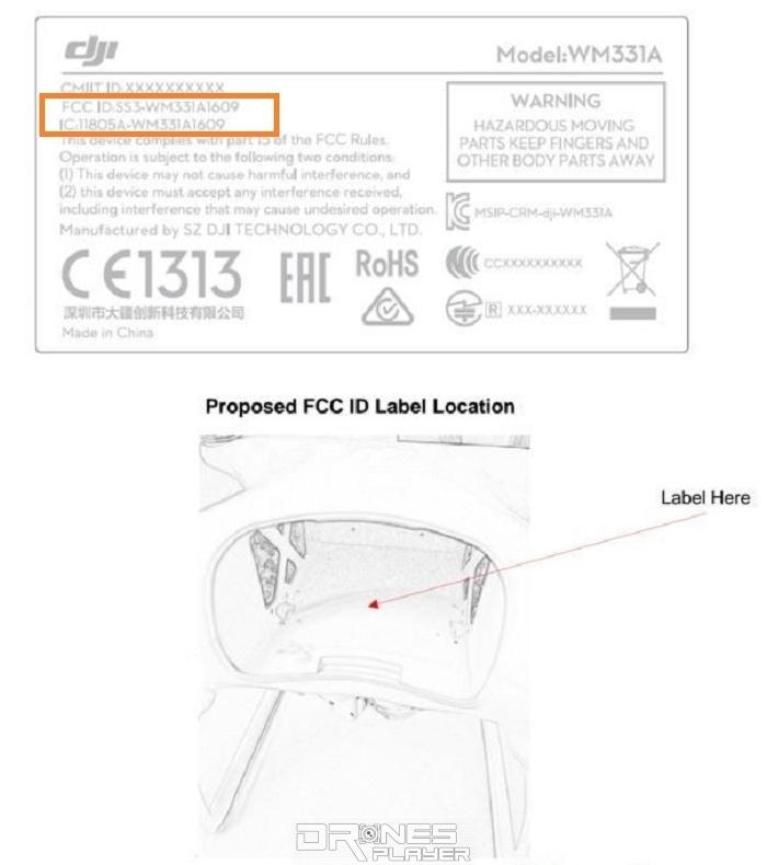 另一份產品資料顯示,FCC ID 為「SS3-WM331A1609」的 DJI 空拍機產品,附有一幅機身局部圖片,如這是屬於 DJI Phantom 4 Pro 的話,估計產品外觀或跟 Phantom 4 頗接近。