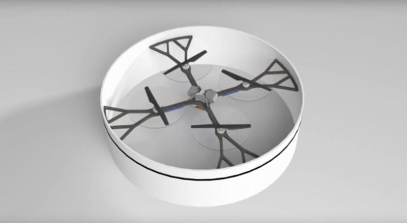 Flying Ring 採用四軸無人機設計,有環狀保護架包圍。