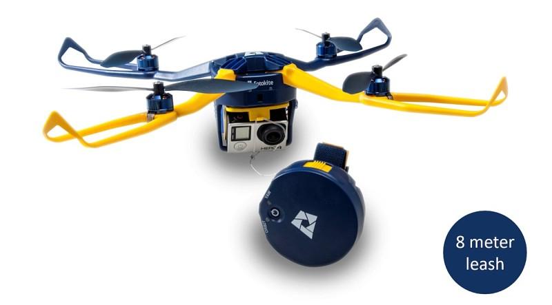 Fotokite Phi 航拍機與遙控器之間的纜線長度只有 8 米,嚴重制約了有效控制距離。