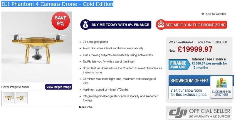 或許這台黃金版 DJI Phantom 4 的定價實在太高了,所以 Drones Direct 網店標榜價格已由 21,999 英鎊減至 19,999 英鎊,未知能否因此而刺激買氣呢?