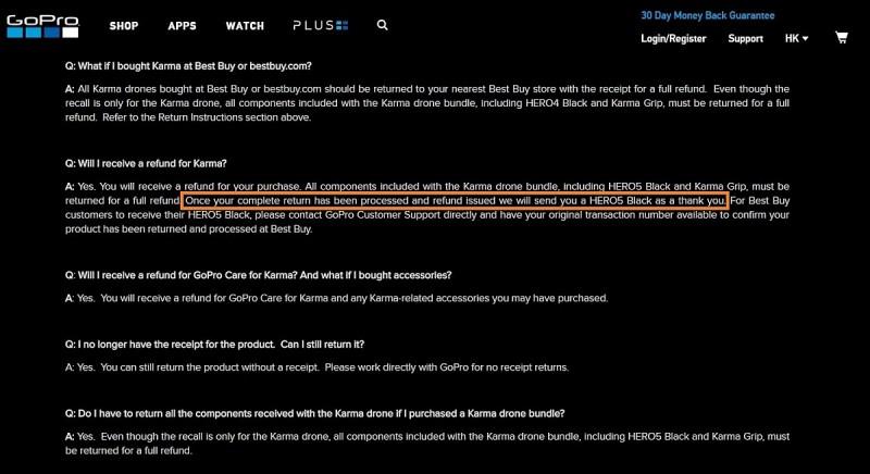 GoPro Karma 召回計劃資訊頁面內已新增送贈 HERO 5 Black 運動相機的相關說明。
