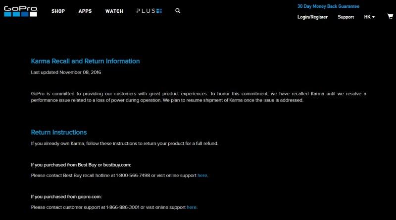 GoPro 宣布緊急回收 Karma 無人機,並開設專頁講解 Karma 回收詳情。