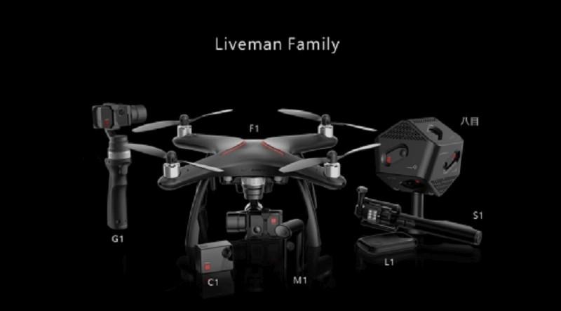 樂視一口氣發布了 7 款 Liveman 系列產品,包括:(由左至右)G1 手持雲台、C1 運動相機、F1 無人機、M1 直播相機、L1 直播設備、S1 多功能自拍桿、《Liveman》直播 app。