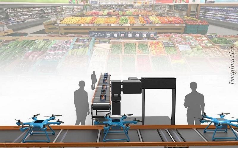Step 2:食材商店接過訂單後,便會準備好相關的材料,並放到 Foxtrot 無人機的貨倉裡。