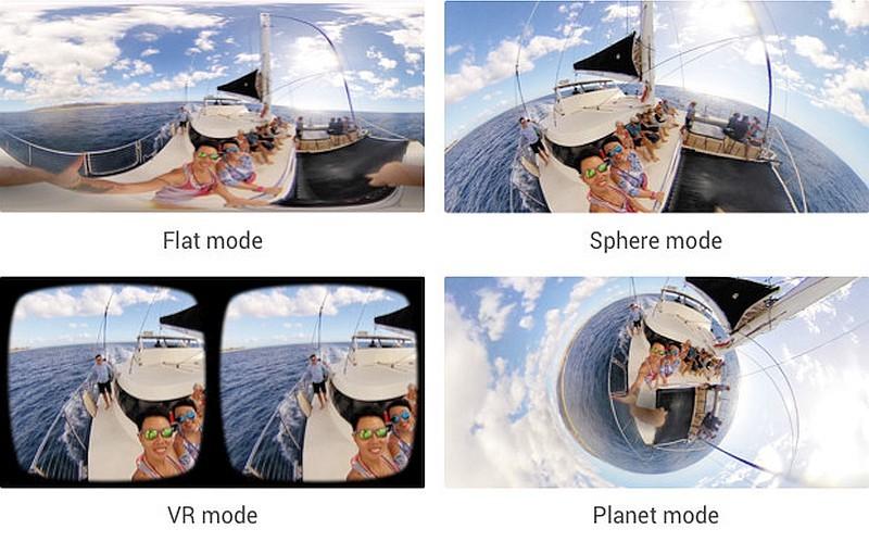 Insta360 Air 應用程式提供 Flat mode、Sphere mode、Planet mode 及 VR mode 四種瀏覽模式,展現出不同的顯示效果。