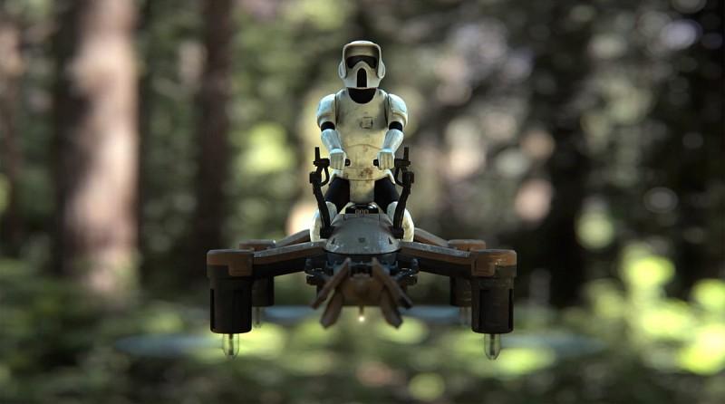 當中較為矚目的是Speeder Bike,皆因採用騎乘無人機形態,飛行器上擺放了白兵人偶,在叢林中穿越飛行時可還原《星戰》電影中的經典場面。