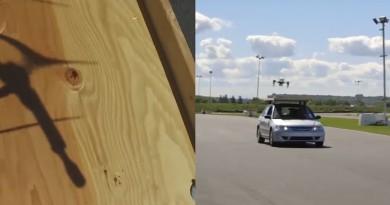無人機自動計算軌道 降落時速 50 公里汽車車頂