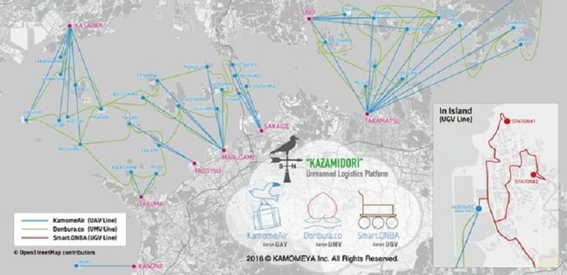 海陸空無人自駕物流方案的輸送網路預想地圖。(圖片來源:Kamomeya Inc.)