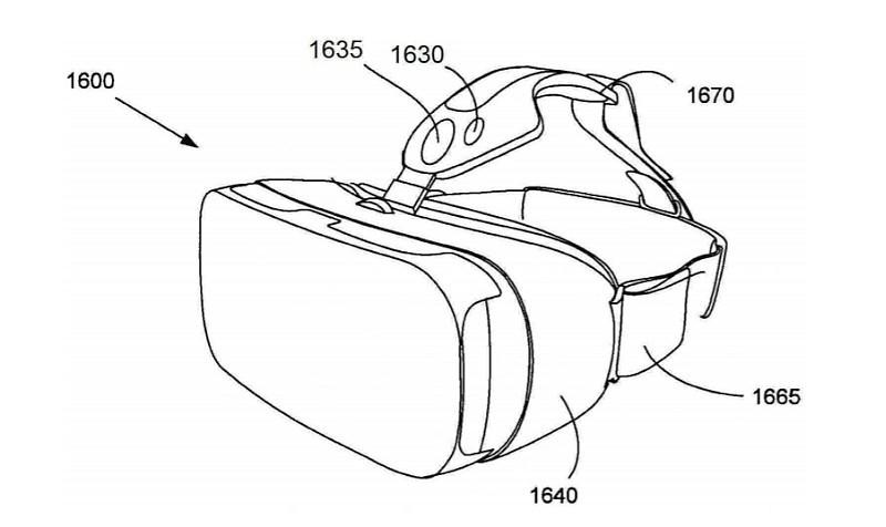 從第二代 Gear VR 的外形設計圖可見,頂部設有 LED 燈及光學感測器。