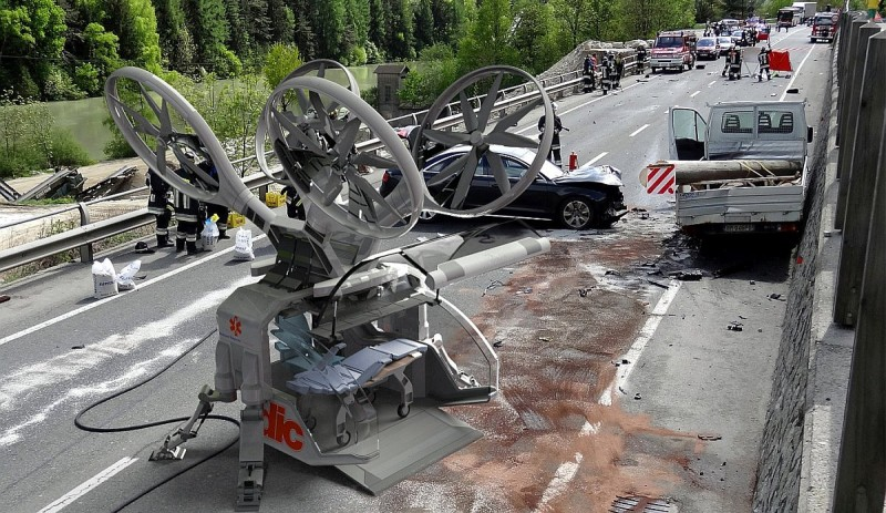 救護無人機的體積大概跟小型汽車相若,以便在街道和偏遠地區升降。