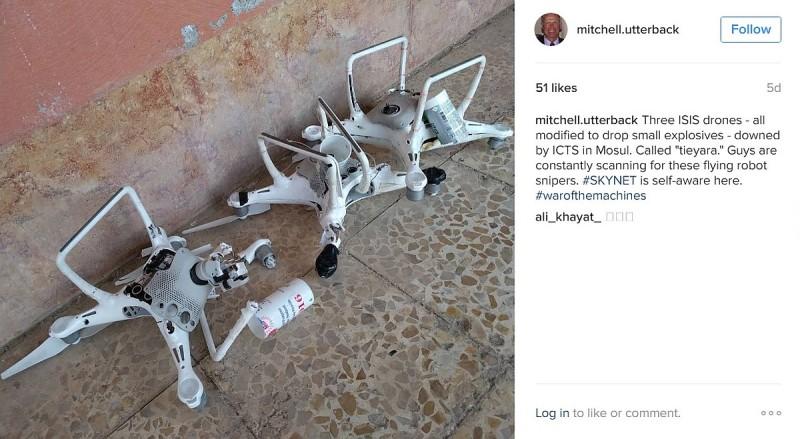 mitchell.utterback 在 Instagram 上傳的另一張圖片,顯示地面上有 3 台疑似被改造的 DJI Phantom 4 航拍機。(圖片來源:翻攝自 mitchell.utterback / Instagram)