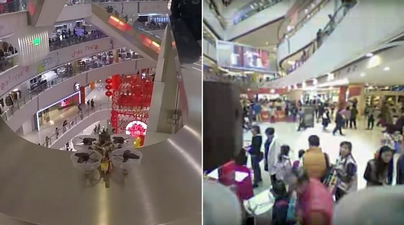 FPV無人機商場內任意穿越 近距飛越人群