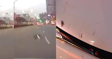 新北司機疑遭空拍機撞車 天降異物驚險片段曝光