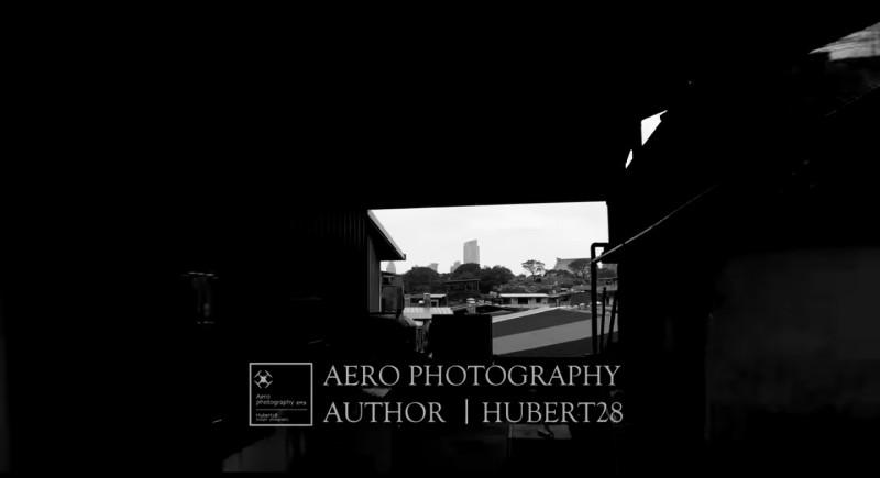 休伯特的空拍影片中有不少穿越屋頂的畫面。