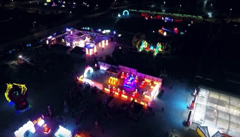 據稱是今年台灣燈會開幕前的空拍片段。(截圖自 YouTube/jackeyhua)