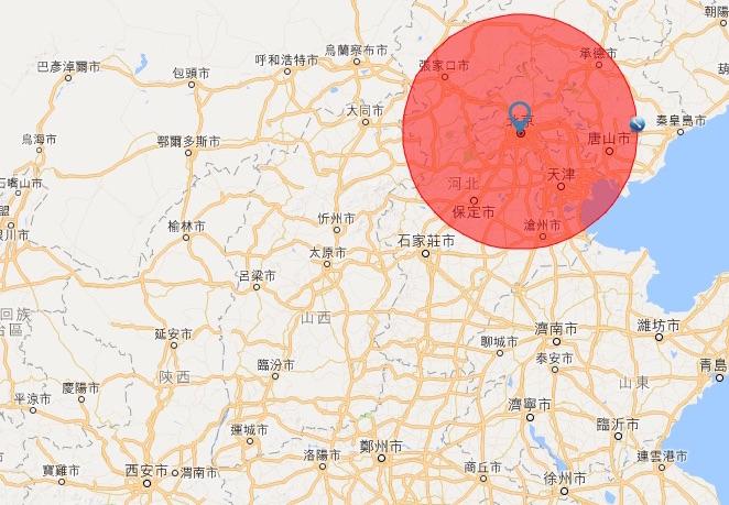 兩會期間設置的臨時禁飛區,以天安門廣場為中心,半徑 200 公里,涉及北京、天津、河北、山西 4 個省市。