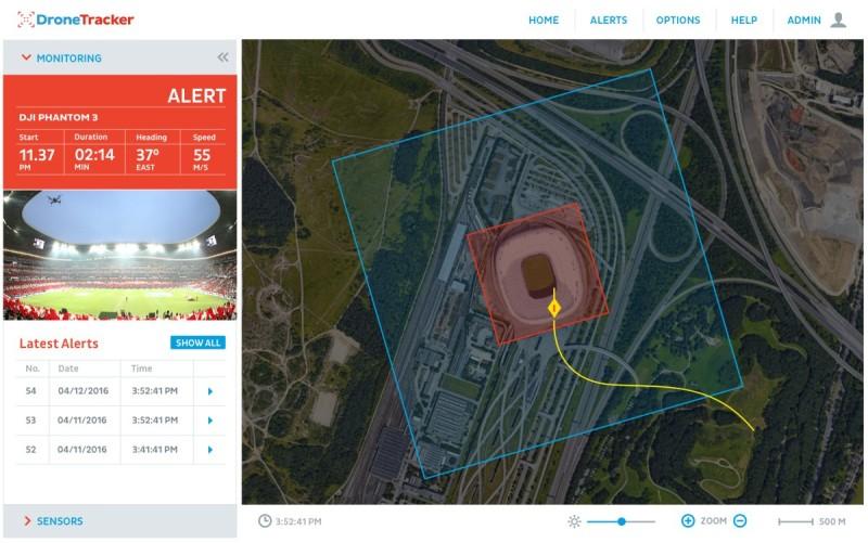 圖中 Dedrone DroneTracker 介面顯示,系統辨識出入侵空拍機為 DJI Phantom 3。