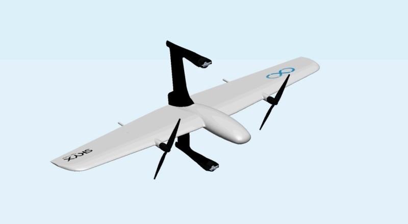 兼具四旋翼和固定翼結構的 SkyOne 無人機既可垂直起降,又在空中水平滑翔。