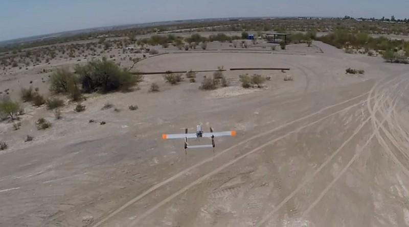 Latitude Engineering HQ-40無人機從美國德薩斯州的中部起飛,最終成功降落於奧斯汀市,交付貨件。圖中為同型號無人機過往的飛行情況。