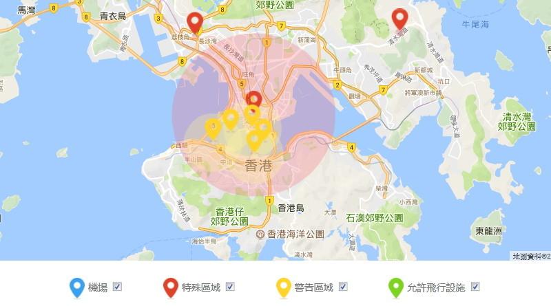 2017 年習近平訪港期間,DJI 在香港設立的臨時無人機禁飛區