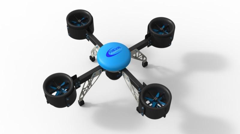 Neva Eole 無人機裝設 4 組渦輪推進器後的模樣。
