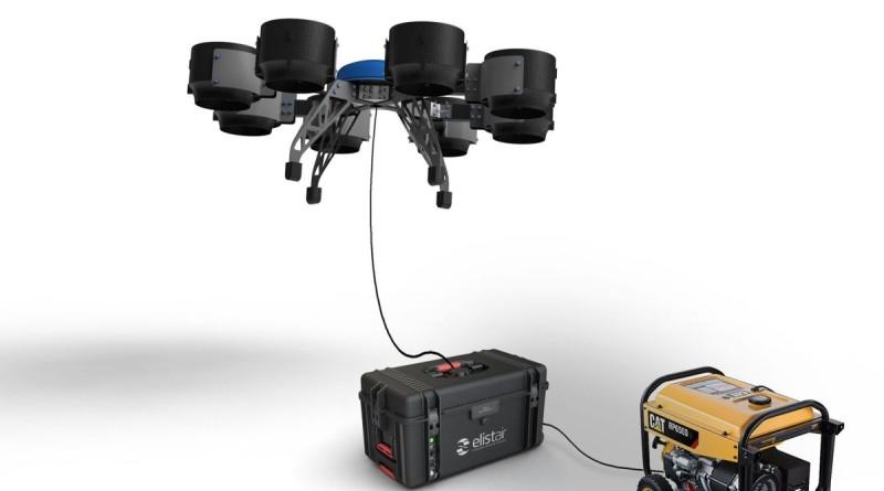 Eole 無人機的續航時間為 30 分鐘,如要長時間運作,可通過纜線連接地面發電機取電。