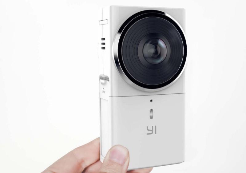 Yi 360 VR 攝影機配備兩支 220度視角、F2.0 大光圈魚眼鏡頭,可錄影 5.7K 與 4K 全景影片,還可進行 2.5K 畫質的全景直播。