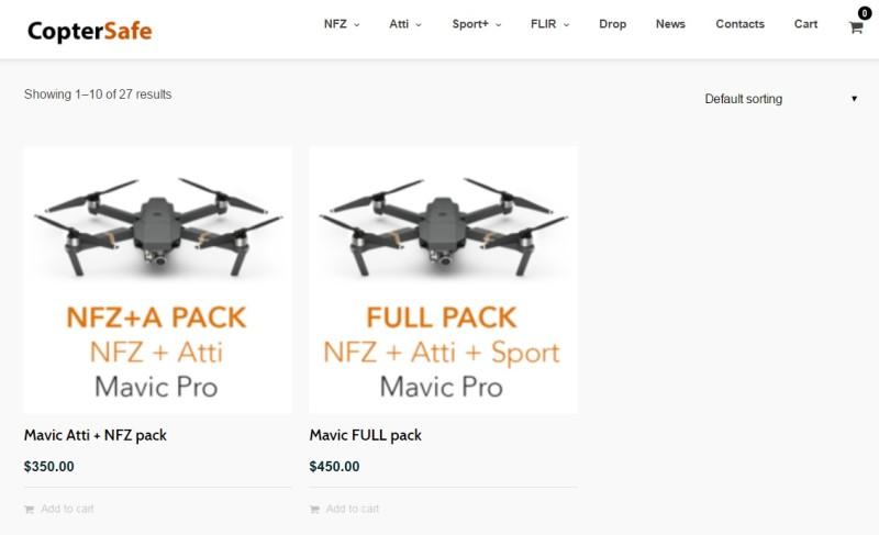 Coptersafe 網站上列出不少 DJI Mavic Pro 改裝方案供人選購。