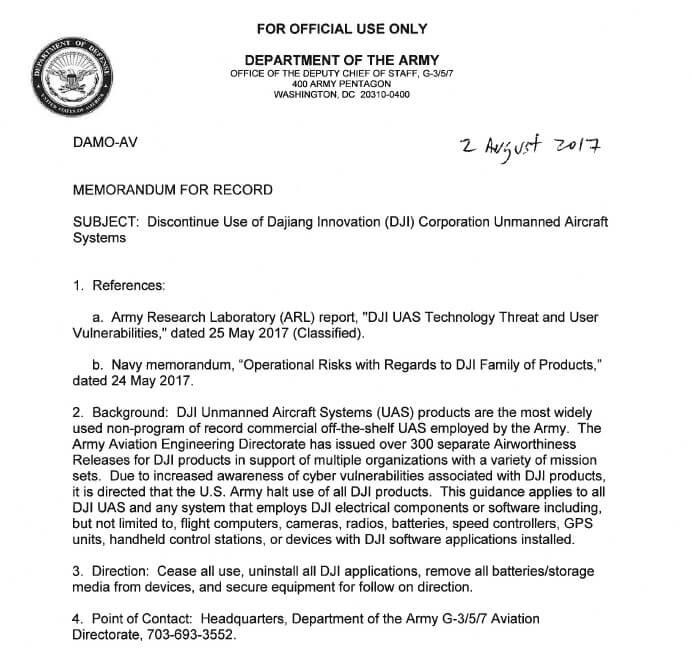 sUAS News 流出的疑似美國陸軍備忘錄,宣布禁用 DJI 無人機
