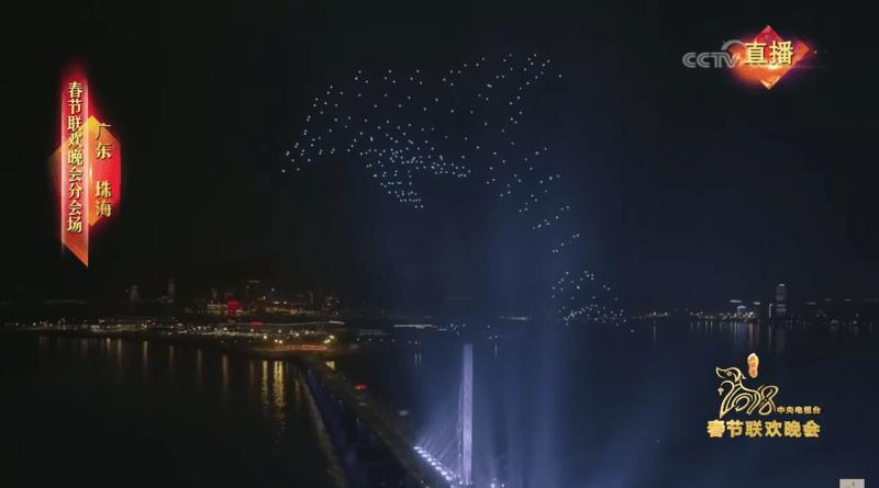 300 台航拍機編隊成「3D 海豚」。